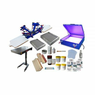 4 Color 2 Station Silk Screen Printing Press Screen Printing Press Equipment Kit