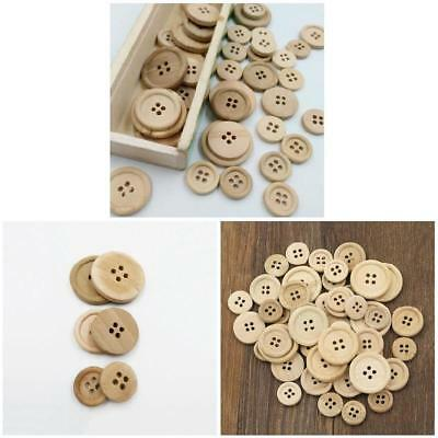 50 Pcs Wooden Buttons Natural Color Round 4 Holes Buttons Sewing Scrapbooking