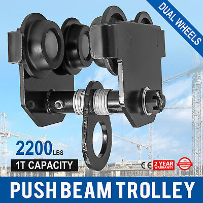 1 Ton Push Beam Track Roller Trolley Adjustable Solid Steel Washers Included