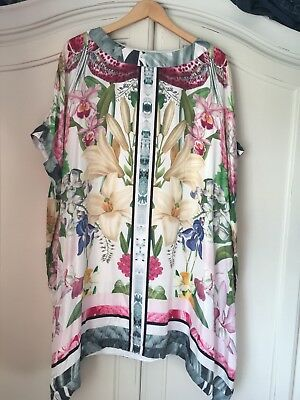Ted Baker Floral Tunic Dress Size 2 100% Mulberry Silk