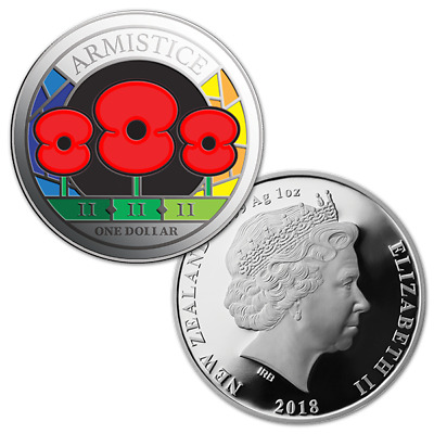 New Zealand - 2018- Silver $1 Proof Coin- 1 OZ  Armistice 3-Poppy Coin