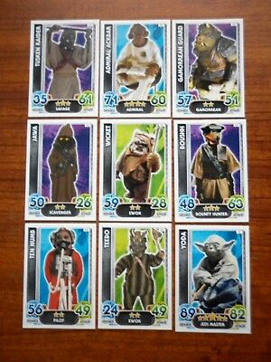 Star Wars - Force Attax Lot Of 9  (Topps collector cards) Lot 6