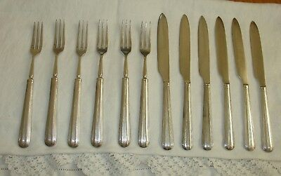 ELKINGTON PLATE Panel and Reed fruit/pastry/tea knives and forks x 6 each.