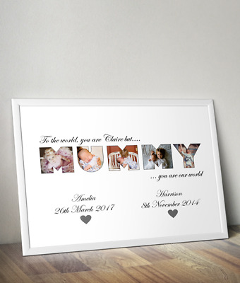 Personalised / Mummy Word Art - Custom Picture Photo Print - Mother's Day Gift