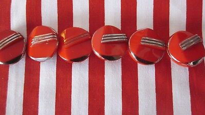 1930,s vintage set of 6 red glass Art Deco buttons.