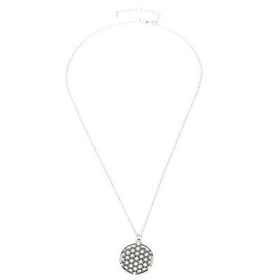 Geometric Charms Flower of Life Round Gridding Pendant Link Chain Necklace