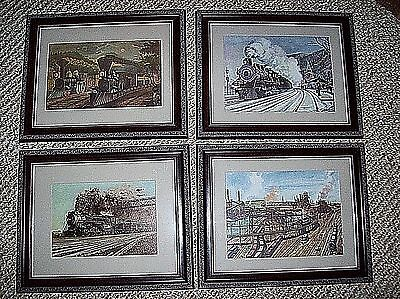 "4 Locomotive Railroad Train Wood Framed 13 1/2 x 16 1/2"" Prints 2 Are H Fogg"