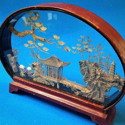 Oriental Chinese Carved Cork Diorama - Oval Glass & Metal Case -15x20cm