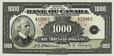 Canada 1-1000 Dollars 1935 Series Complete Set Reproduce