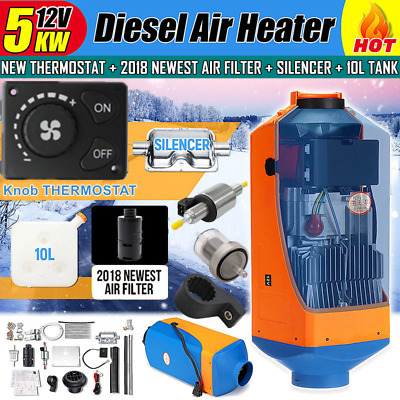 12V 5KW Diesel Air Parking Heater Air Heating Knob Thermostat with Silencer AU
