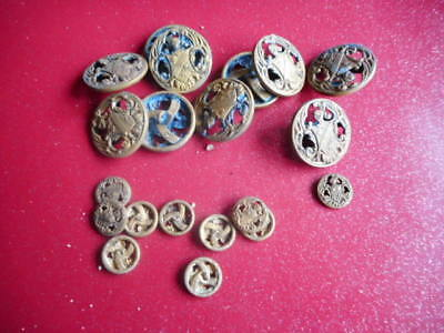 lot 9 : 20 Boutons anciens AP&Cie Paris HEAUME & BLASON 10+10 D : 30 & 16mm