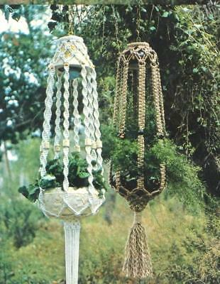 Make These Vintage Macrame Hanging Plant Lamps - Copy Pattern Only
