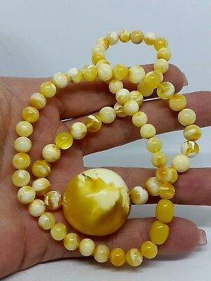 Unique Natural Baltic Sea Amber Necklace Marble White Plum and Beads 20,27 gr