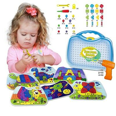 Kidtastic Building Board Drill Set (203 pcs) STEM Toys for 4 Years Old