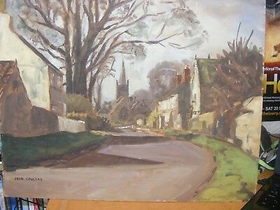 Vintage Watercolour Painting On Board Signed John Coultas Vgc