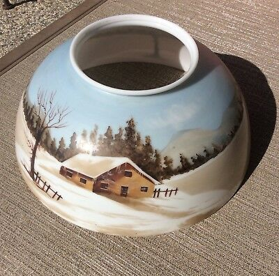 """ANTIQUE 14"""" HAND PAINTED GLASS LAMPSHADE Beautiful Winter Scene Cabin By Lake"""
