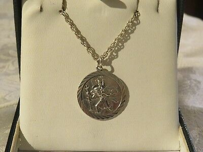 """Vintage Large Double Sided Silver St Christopher Pendant & 22"""" Heavy Chain Vgc"""