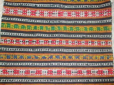 Antique19th TRADITIONAL FOLK WOOL Hand-Woven rug VINTAGE fabric