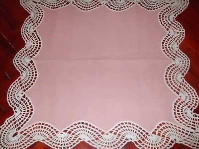 Beautiful Vintage Handmade pink Linen Tablecloth with Cotton Crochet Lace