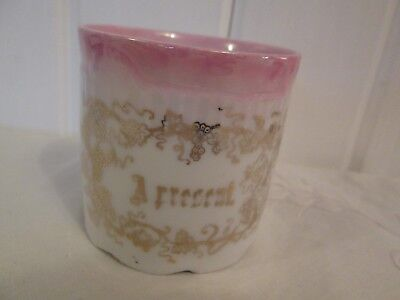 Antique Porcelain Gift Mug Cup Hand Painted Pink A Present Victorian Gold