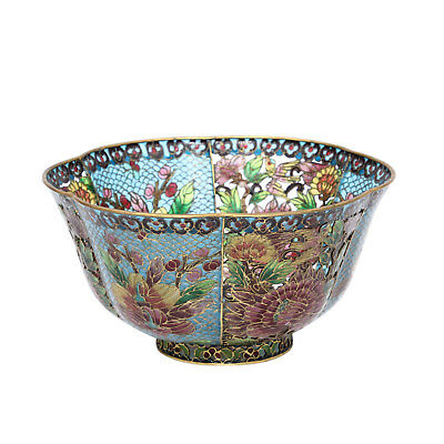 PLIQUE A JOUR BOWL China, 20th century, glass-filled metal bars