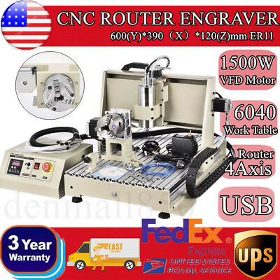 USB! 6040 1500W 4 Axis CNC Router Engraver Milling Drilling Machine 3D Cutter US