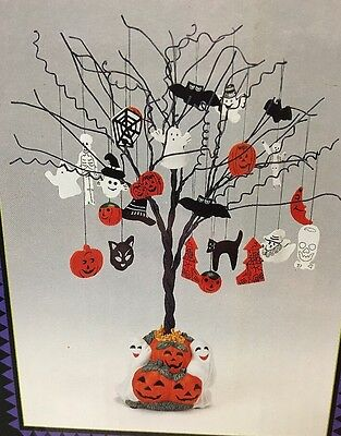 """Halloween Tree Ghost With Ornaments In Original Box 17"""" Tall Pumpkin Ghost Base"""