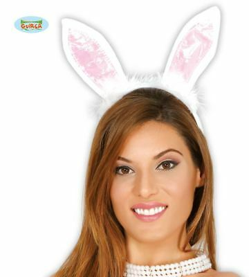 e901d459d6876 Womens Pink   White Bunny Rabbit Ears Tiara Headband Hen Party Fancy Dress