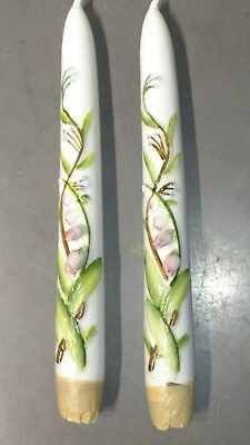 Japan Hand Painted pair of Floral Decorative Candles Ceramic Porcelain 8""