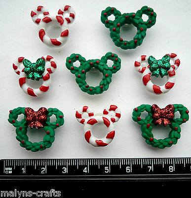 Disney WREATHS & CANES Craft Buttons 1ST CLASS POST Christmas Sweet Mickey Mouse