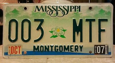2007 Mississippi Montgomery County license plate tag NO RESERVE! $0.99
