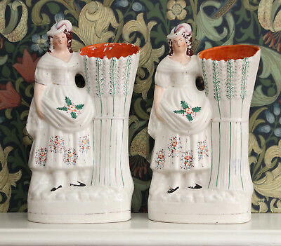 Two HUGE c19th Antique Staffordshire Spill Vases, Harvest Maid