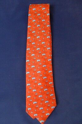 Hermes red with animal pattern  100% Silk tie 5271 SA