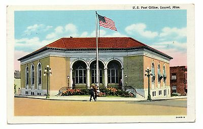 LINEN POSTCARD :: U.S. Post Office - Laurel Mississippi