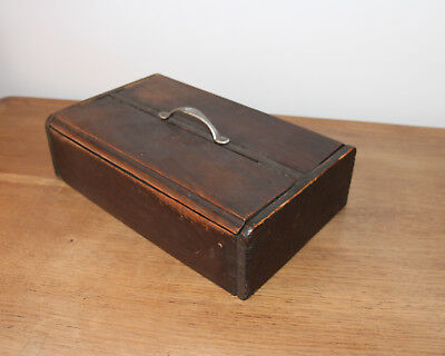 Antique Wooden Tool Chest Box Desk Tidy Unusual And Small