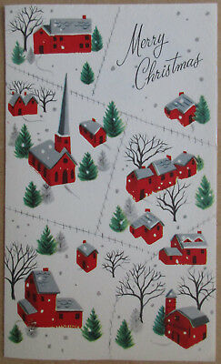 Vintage 1950's Hampshire Merry Christmas Used Greeting Card Red Houses Church
