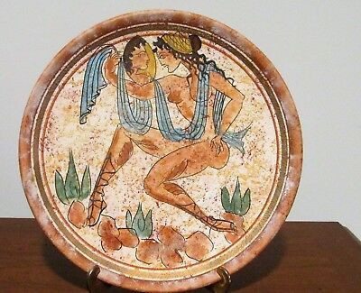 "Repro Ancient Greek Hand-Painted Plate Platter - Large Terracotta 11"" Plate"