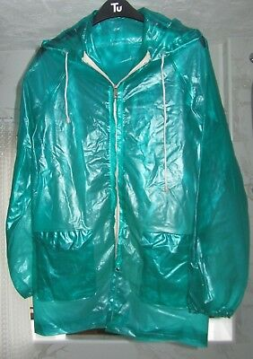 Vintage Clear Green hooded raincoat mac Size S (UK8-10)