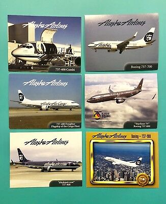 6 Different Alaska Airlines Collectors Cards