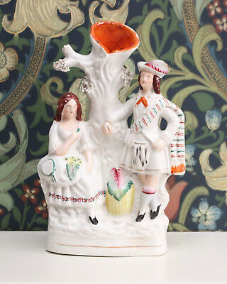 Antique c19th Staffordshire Flatback Spill Vase,