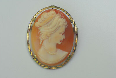Antique Vintage 1/20 12K G.F. Carved Shell Cameo Brooch Pin Pendant