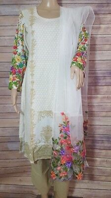 Multicolored Cream Embroidered Cotton Salwar. Size 38. New. Free Shipping.