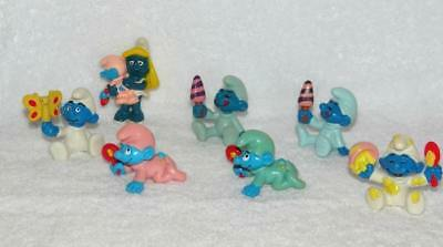 Lot/7 Vintage 80's Peyo Smurf Smurfette Babies Butterfly Bowl Ice Cream Rattle