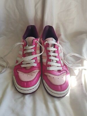 Ladies Adidas trainers UK 6 US 7.5 pink, white and purple lace ups