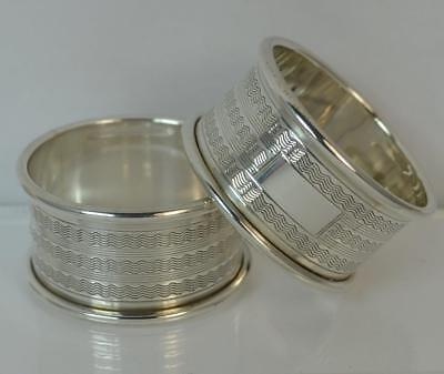 Solid Silver Pair of Napkin Rings of Engine Turned Design - Blank Cartouche