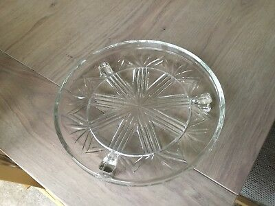 Vintage Glass Cake Stand On 3 Legs