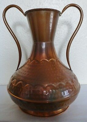 Superb Vintage Hand Made Hammered & Etched French Copper Villedieu Vase (Bc7)