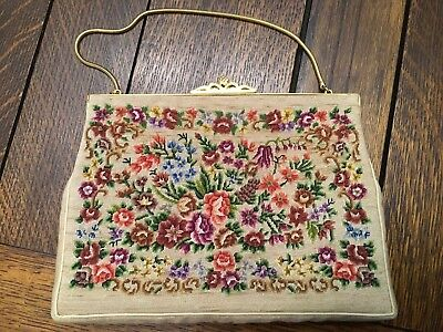 Vintage Petit Point PURSE Needlepoint Tapestry Handbag Floral