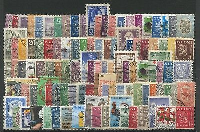 """FINLAND  -  100 Stamps  """"  ALL  DIFFERENT  """" ."""