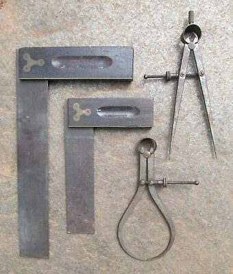 4 Antique Drafting Tools T-Square Compass Wing Divider Caliper Stanley Craftsman